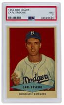 Carl Erskine Brooklyn Dodgers 1954 Red Heart Baseball Card NM 7 PSA - $407.87