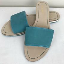 New Nine West Sundanceo Teal Suede Leather Sandals Size 8.5 Slip On Flats - $34.64
