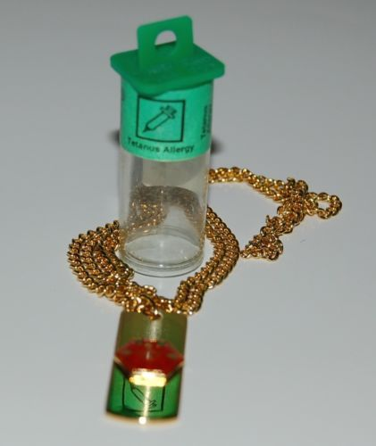 Apothecary Products 91216 Gold Color Tetanus Allergy Medical Alert Necklace
