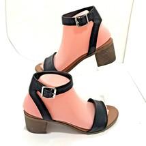 Steve Madden Kemmy Womens Black Leather Strappy Block Heel Sandals Size 8 M - $21.22