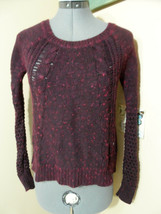 AMERICAN EAGLE Crochet Sweater Top Jr. XS Dark Burgundy Diamond knit Lon... - $12.61