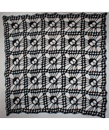 Hand Crochet Skull Afghan| Table Topper| Shawl Black - $172.20