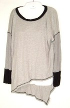 Emma Sam Sz L Gray Asymmetrical Pullover Knit Top Long sleeve Casual lag... - $19.75