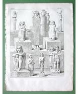 EGYPT Idols Found in Tombs of Pharaohs - 1774 Original Copperplate Print - $14.40