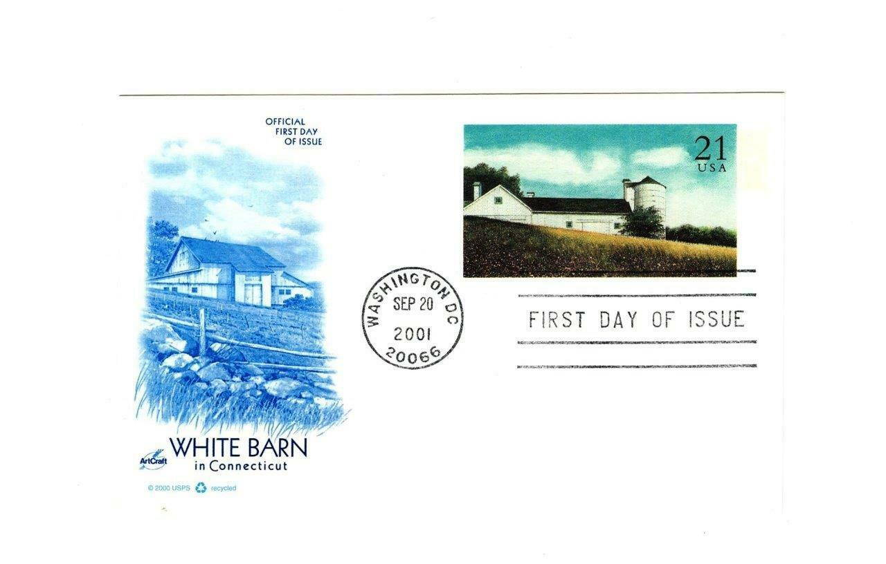 FDC POSTCARD-THE WHITE BARN IN CONNECTICUT- ARTCRAFT CACHET BK13