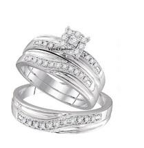 Brilliant Round Cut Sim Diamond Trio Wedding Ring Set 14K White GP & Free Gift - $129.85