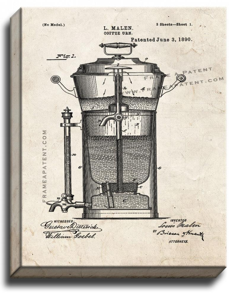 Primary image for Coffee Urn Patent Print Old Look on Canvas