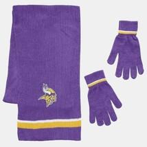 Minnesota Vikings Chenille Knit Scarf & Gloves Set Team Colors Brand New Nwt - $18.89