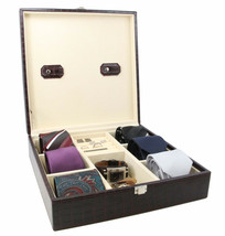 Decorebay Handcrafted Crocodile Leather Tie Box  Cufflink Storage Box me... - $54.99