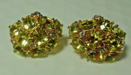 "Vintage Signed ""W""  Gold-tone Faceted Prong Light Green Crystal Clip-on ... - $45.00"
