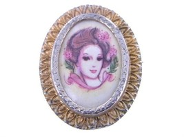 VINTAGE 1960'S GOLD TONE TRANSFER LADY PORTRAIT PIN - $35.99