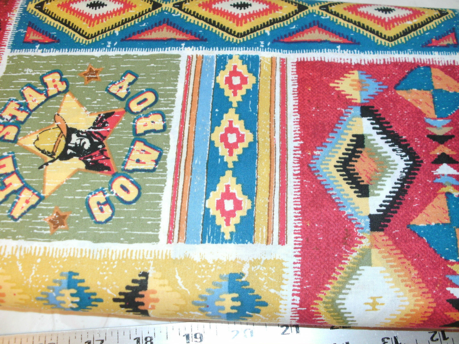 1 Yd Western Cowboy Quilting Fabric Patch Southwestern Rodeo