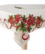 "St. Nicholas Square Poinsettia Border Tablecloth-60 x 84""-Ivory - $45.53"