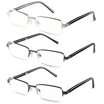 Half Rimmed Rectangular Reading Glasses For Mens - Free Microfiber Clean... - $12.67