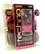 Sentry Techno Pink Headphones Stereo Ear Buds Set Music Mic iphone mp3 ipod - $12.99