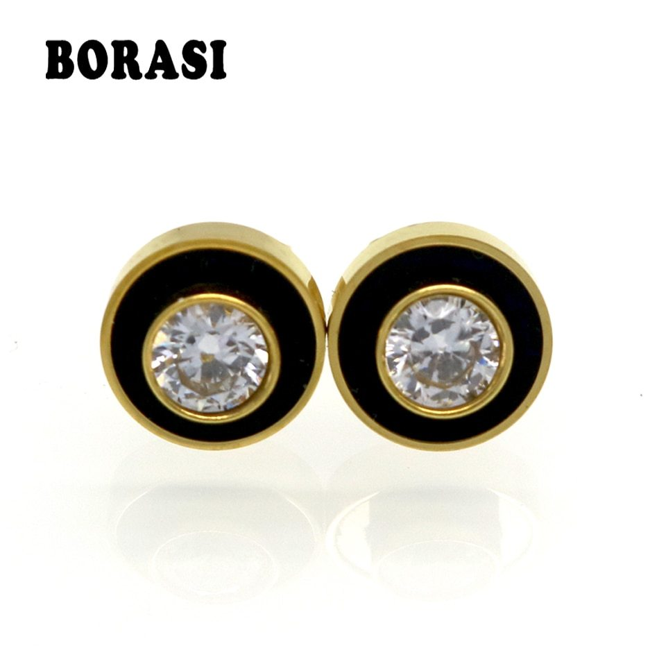 Primary image for Hot Sell Men And Women Black With White Shell Round Party Crystal Stud Earrings