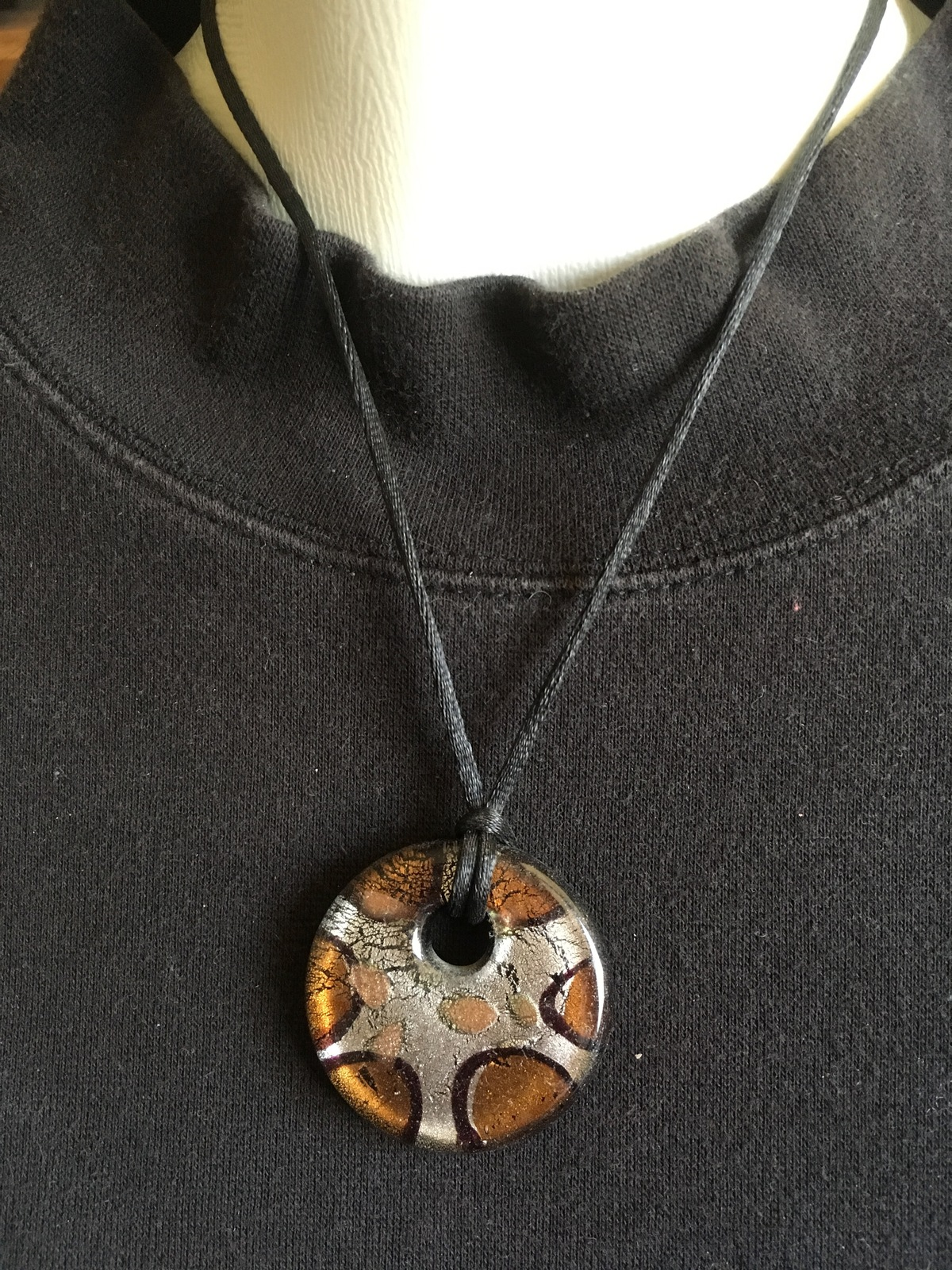 Vintage Resin Pendant Necklace, Brown and Silver, Black Nylon Cord, Silver Plate