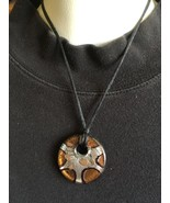 Vintage Resin Pendant Necklace, Brown and Silve... - $12.50