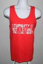 New Mens Tank Top Shirt Stupidity Is Not A Crime So You're Free To Go Medium Red - $21.73