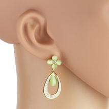 UNITED ELEGANCE Unique Gold Tone Dangling Drop Earrings With Faux Jade - $17.99