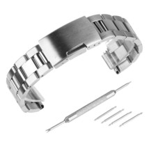 Beauty7 28mm Brushed Polished Finish Stainless Steel Link Wrist Watch Ba... - $33.14