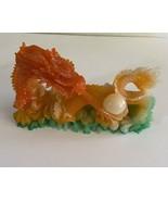 Vintage  Lucite / Resin   Orange Dragon Statue - $29.00