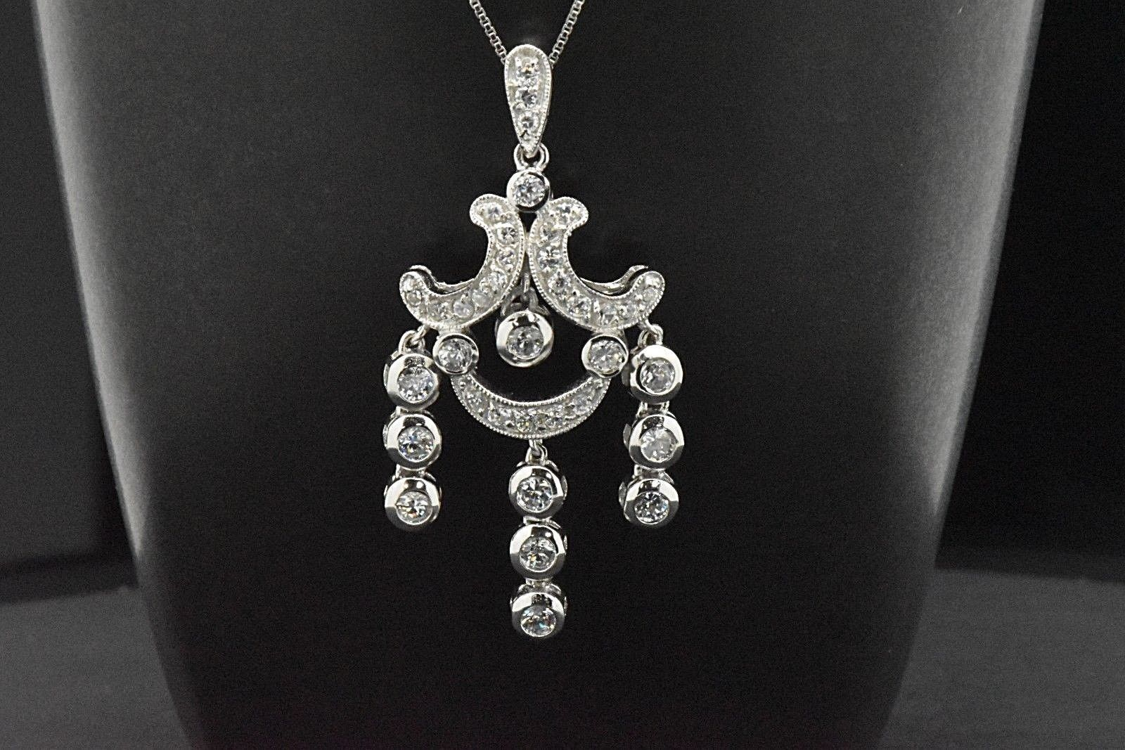 Primary image for 925 Sterling Silver Sim Diamond Art Deco Drop Bridal Chandelier Pendant Necklace