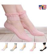 1 pair Women Lace Ruffle Frill Sheer Transparent Silk Elastic Mesh Ankle... - $3.94+
