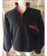 Mens PATAGONIA Synchilla Brown Red Fleece Pullover Size L Snap Top - $49.49