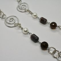 NECKLACE THE ALUMINIUM LONG 88 CM WITH CHALCEDONY QUARTZ WHITE PEARLS image 3