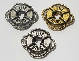 LIFE RING PRESERVER FINE PEWTER PENDANT CHARM - 16mm x 16.5mm x 3mm image 1