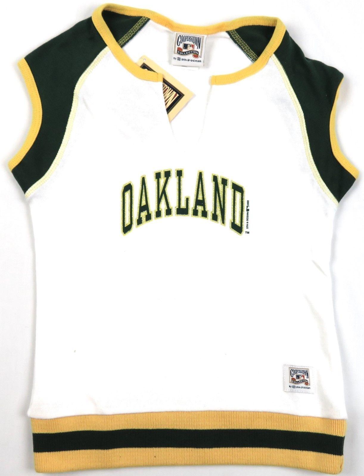 Junior Women's Oakland Athletics Shirt MLB A's Cooperstown Top Short Sleeve NEW