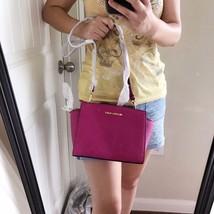 Michael Kors Medium Selma Messenger Crossbody Handbag Fuschia Saffiano NWT - $188.09