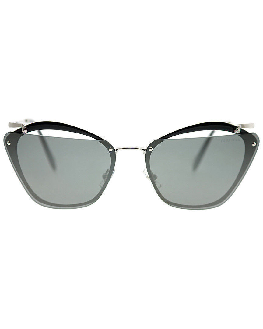 Miu Miu SMU54T KJW-7W1 Sunglasses Grey Silver Frame Grey Silver Mirror 64mm