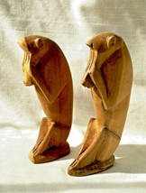 Pair of Vintage Hand Carved Wood Baboon/Monkey Figures - Africa - $24.89