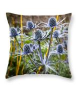 Blue Stem Sea Holly, Throw Pillow, seat cushion, fine art, home decor, a... - $41.99 - $69.99
