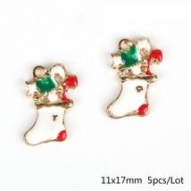 5pcs/lot Merry Christmas Deer Tree Santa Claus Enamel Charms Pendant Fas... - $5.89
