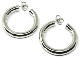 """925 STERLING SILVER CIRCLE HOOPS BIG EARRINGS, 4 cm x 6 mm (1.6"""" X 0.25"""") SMOOTH image 2"""