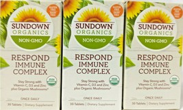 3 Sundown Organics Respond Immune Complex Vitamin C, D3+Mushrooms Exp 06/2022 D9 - $24.70