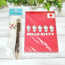 Sanrio Vintage Hello Kitty Notepad Mechanical Pencil Set Heart Love Rare... - $84.54