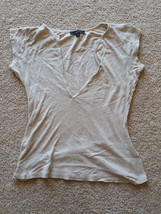 EXPRESS Womens Size M Tan Drop Neckline Dress Casual Top Short Sleeve Shirt - $16.99