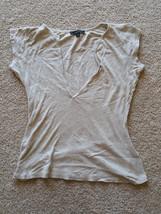 EXPRESS Womens Size M Tan Drop Neckline Dress Casual Top Short Sleeve Shirt - $16.99