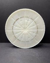 VTG Ivory Milk Glass Cake Plate/Stand w-Gold Fleur de Lis/Formal Dining/... - $29.40
