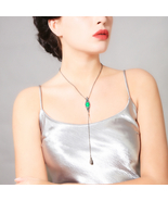 Crystal Green Geometric Waterdrop Long Pendant Necklace Jewelry aliexpre... - $7.99