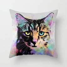 Throw Pillow Cushion case Made in USA Cat 618 orange aqua pink grey gray L.Dumas - $29.99+