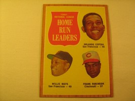 MLB Topps Baseball Card 1962 CEPEDA MAYS 1961 Home Run Leaders #54 GREAT... - $14.35