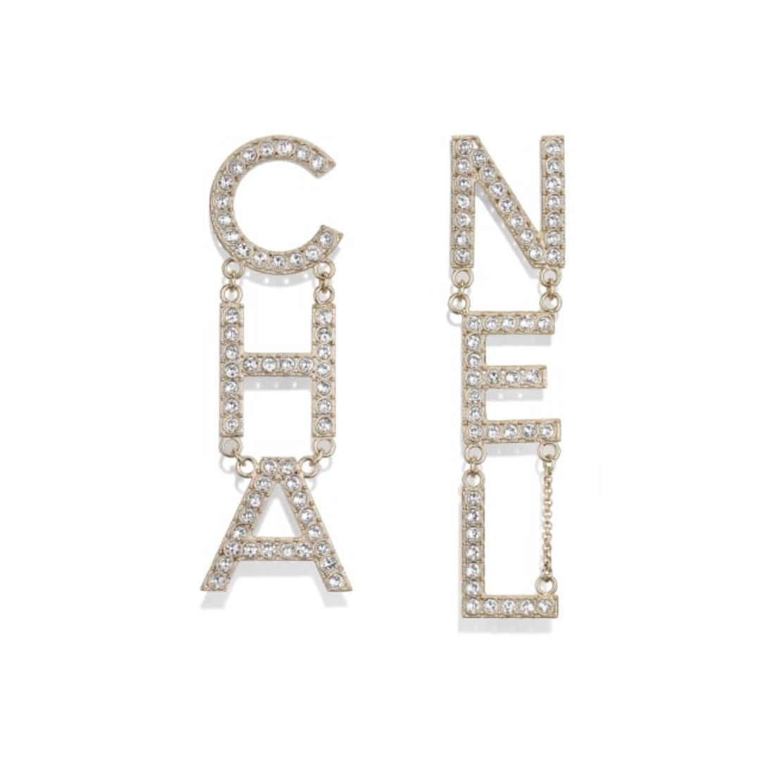Primary image for SALE* AUTH NEW CHANEL 2019 RUNWAY XL LETTER CHA NEL Crystal Dangle Drop Earrings