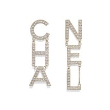 SALE* AUTH NEW CHANEL 2019 RUNWAY XL LETTER CHA NEL Crystal Dangle Drop Earrings