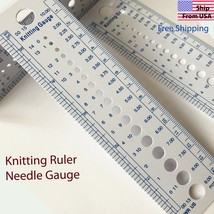 Knitting Needle Size Gauge Ruler Weaving Tools- Inches/CM AUC  Plastic - $1.69+