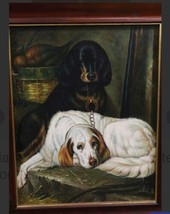 "Large 37.5""x 31.5"" Maitland Smith Black White Dog Wood Frame Art Decor Neiman image 2"